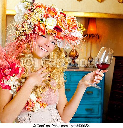 fashion baroque blond woman drinking red wine - csp8439654