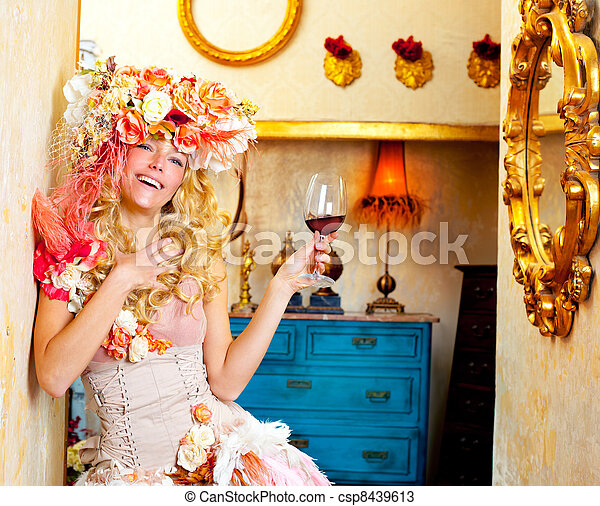 fashion baroque blond woman drinking red wine - csp8439613