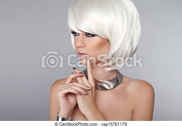 Fashion Beauty Girl. Blond Woman Portrait. Stylish Haircut and Makeup. Hairstyle. Make up. White Short Hair. Isolated on Grey Background.  Vogue Style.  - csp15761179