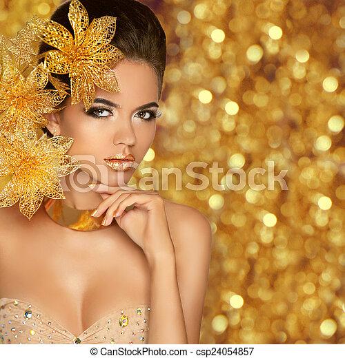 Fashion Beauty Girl Portrait Isolated on golden Christmas glitte - csp24054857
