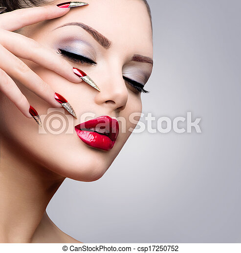 Fashion Beauty Model Girl. Manicure and Make-up - csp17250752
