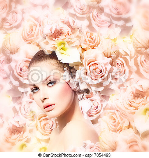 Fashion Beauty Model Girl with Flowers Hair. Bride - csp17054493