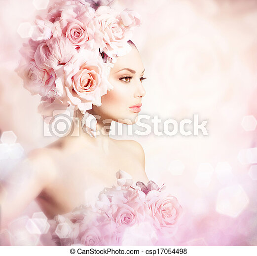 Fashion Beauty Model Girl with Flowers Hair. Bride - csp17054498