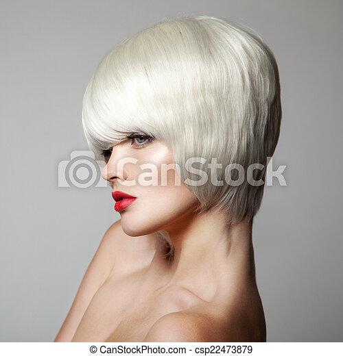 Fashion Beauty Portrait. White Short Hair. Haircut. Hairstyle. F - csp22473879