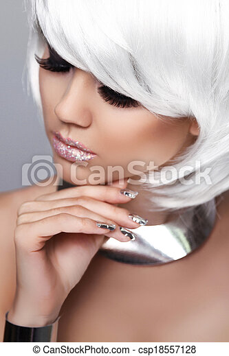 Fashion Blond Girl. Beauty Closeup portrait. Sexy Woman. White Short Hair. Vogue Style. Isolated on Grey Background. Hairstyle. Fringe.  - csp18557128