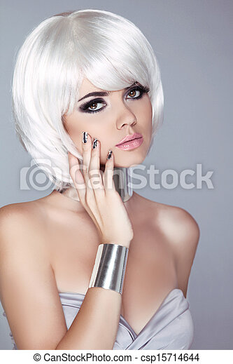Fashion Blond Girl. Beauty Portrait Woman. White Short Hair. Isolated on Grey Background. Face Close-up. Haircut. Hairstyle. Fringe. Vogue Style.  - csp15714644