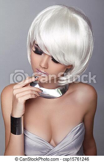 Fashion Blond Girl. Beauty Portrait Woman. White Short Hair. Isolated on Grey Background.  Hairstyle. Fringe. Vogue Style. - csp15761246