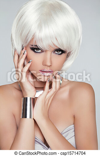 Fashion Blond Girl. Beauty Portrait Woman. White Short Hair. Isolated on Grey Background. Face Close-up. Hairstyle. Fringe. Vogue Style.  - csp15714704