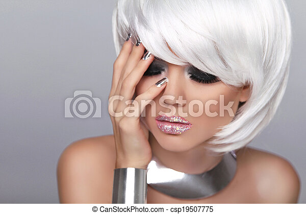 Fashion Blond girl. Makeup. Manicured nails. Beauty Portrait Woman isolated on gray background. . White Short Hair.  Fringe. Vogue Style. - csp19507775