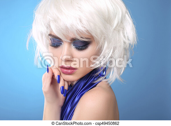 Fashion Blond Girl. White Short Hair. Beauty makeup Portrait Woman.  Blue manicured nails. Face Close up. Hairstyle. Fringe. Vogue Style. - csp49450862