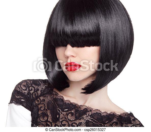 Fashion bob Haircut. Hairstyle. Long Fringe. Short Hair Style. B - csp26015327