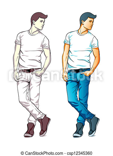 fashion boy cool fashion young man in jeans and t shirt isolated rh canstockphoto com Funny Thanksgiving Clip Art Ladies Fashion Clip Art