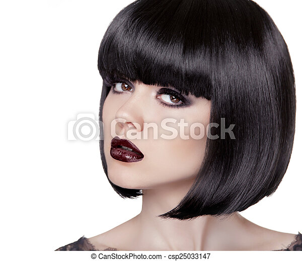 Fashion Brunette Girl. Black Healthy Hair. Bob Hairstyle. Makeup - csp25033147