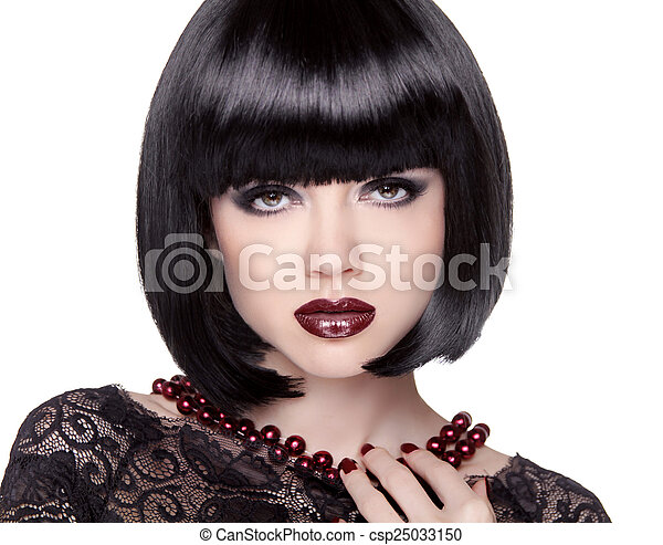 Fashion Brunette Girl model with Black bob hairstyle. Lady vamp. - csp25033150
