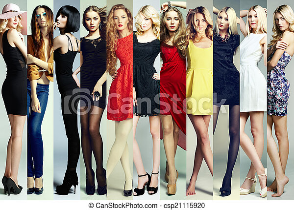 Fashion collage. Group of young women - csp21115920