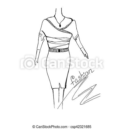 fashion concept, sketch, vector illustration - csp42321685