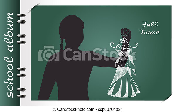 Fashion Design School Album Template Of A School Album In The Form Of A Silhouette Of A Child With Elements Chalked On A