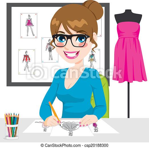 Fashion Designer Drawing Sketches - csp20188300