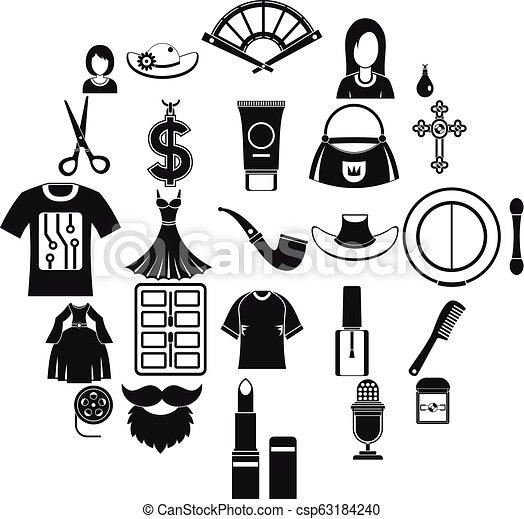 Fashion designer icons set, simple style