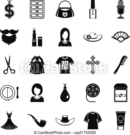 fashion designer icons set simple style fashion designer icons set