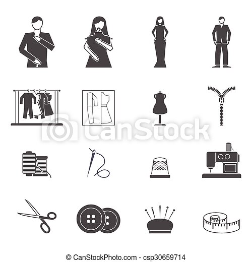 fashion designer tools icon set black and white clothes and fashion