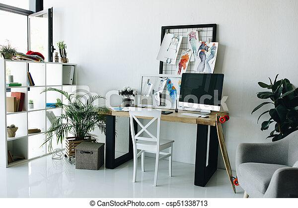 Fashion Designer Workplace Modern Fashion Design Studio Interior