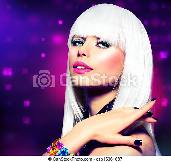 Fashion Disco Party Girl Portrait. Purple Makeup and White Hair - csp15361687