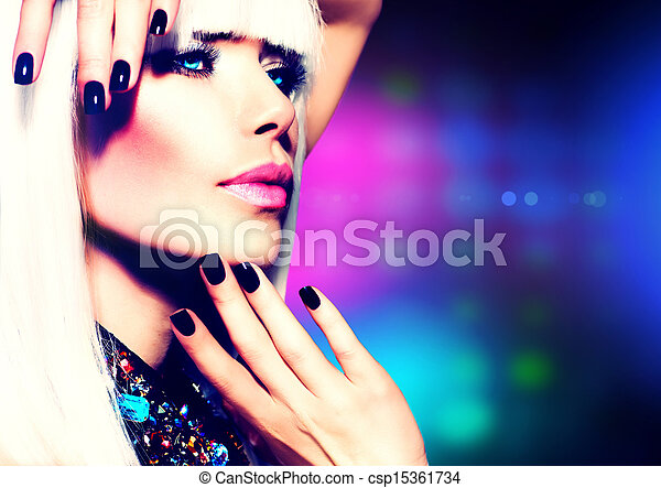 Fashion Disco Party Girl Portrait. Purple Makeup and White Hair  - csp15361734