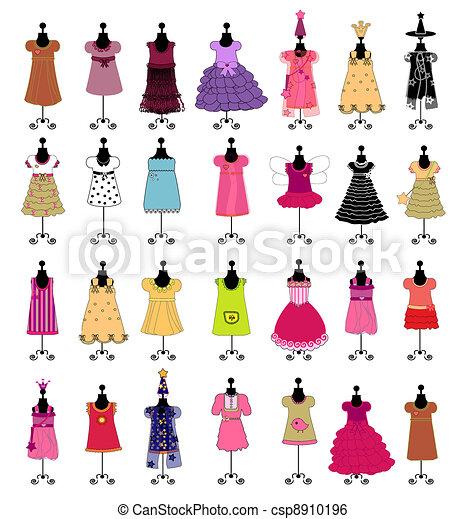 fashion., ensemble, girls., ve, robes - csp8910196