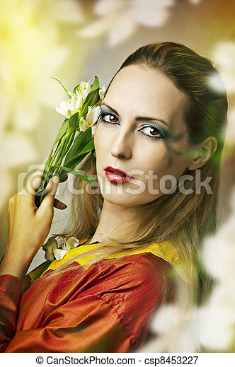 Fashion fairytale portrait of young beautiful woman - csp8453227