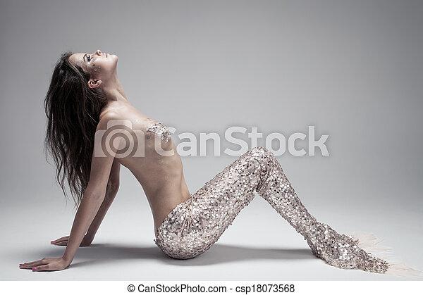 Fashion Fantasy Mermaid. Studio Shot. Gray Background. - csp18073568