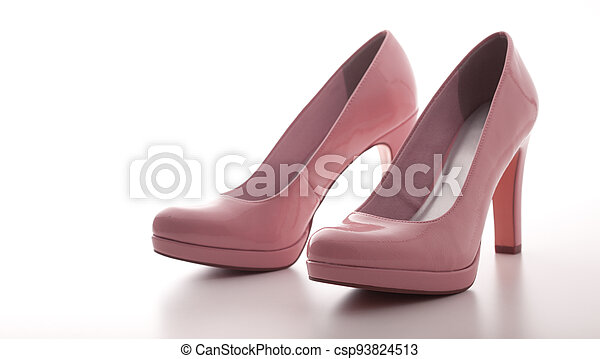 fashion female pink shoes with heels isolated. - csp93824513