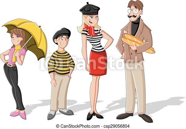 Fashion french cartoon family. cartoon people. vector ...