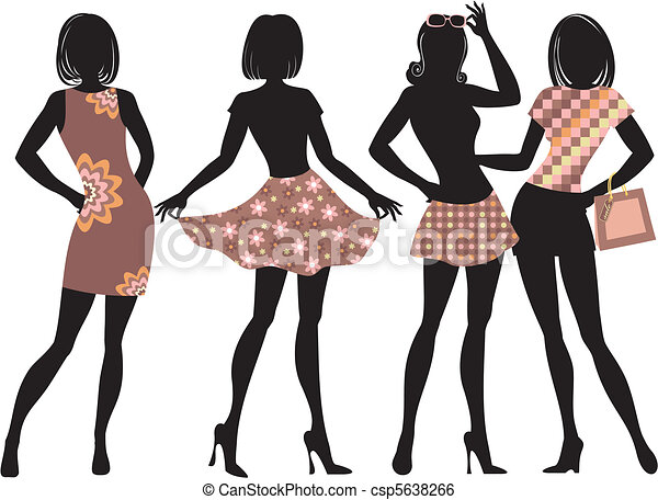 fashion gerls silhouette of fashion women with model clip art rh canstockphoto com fashion clipart black white fashion clipart illustrations