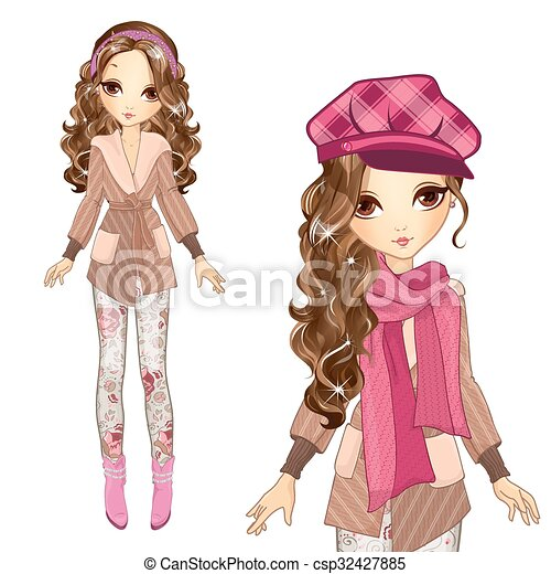 Fashion Girl In Cap And Coat - csp32427885
