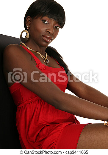 Fashion Girl In Hot Red Dress - csp3411665