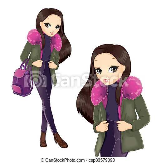 Fashion Girl In Pink Fur Coat - csp33579093