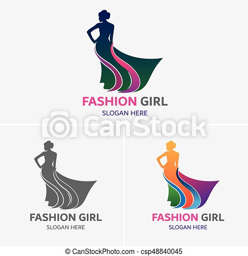 Fashion Girl Logo Template Walking Woman Figure Smooth Silhouette