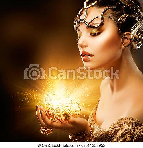 Fashion Girl Portrait. Golden Makeup  - csp11353952
