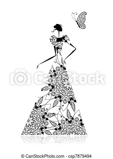 Fashion girl silhouette in wedding dress for your design - csp7879494