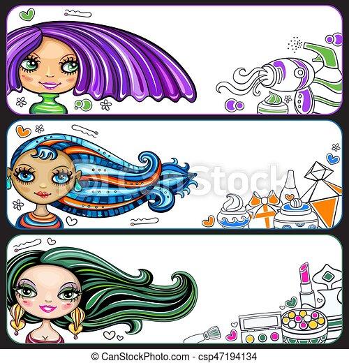 Fashion girls banner set - csp47194134