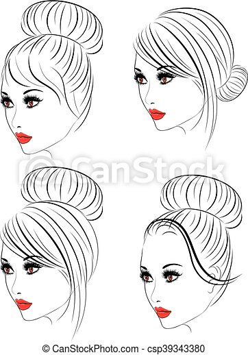Fashion Hairstyles Lineart Female Face With Makeup And Fashion