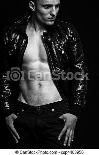 Fashion - handsome sexy man with nice abdomen - csp4403956
