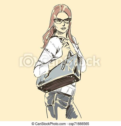 Fashion illustration sketch, scribble freehand woman - csp71666565