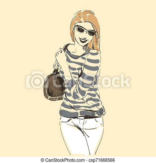 Fashion illustration sketch, scribble freehand woman - csp71666566