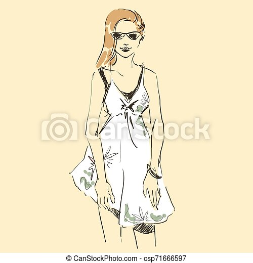 Fashion illustration sketch, scribble freehand woman - csp71666597