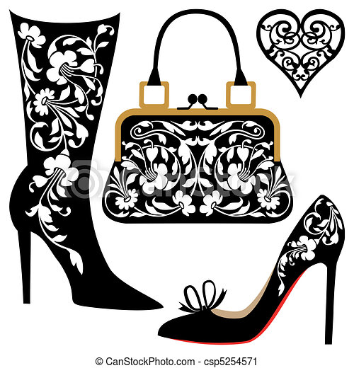 fashion illustration silhouettes of women shoes and bag vector rh canstockphoto com Vector Clip Art running shoe vector graphic