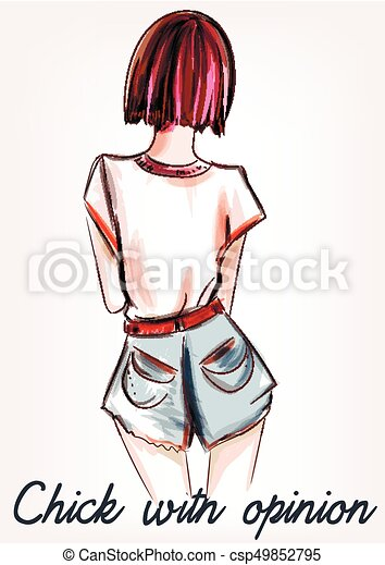Fashion Illustration With Girl Short Hair Standing Back Chick With