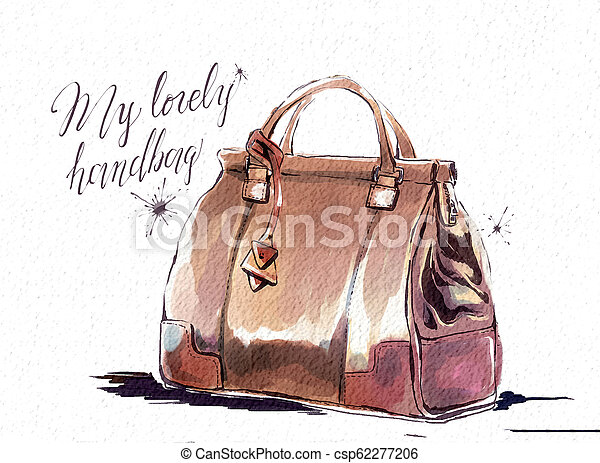 b4f4d9c9 Fashion illustration with purse, female brown handbag. watercolor ...