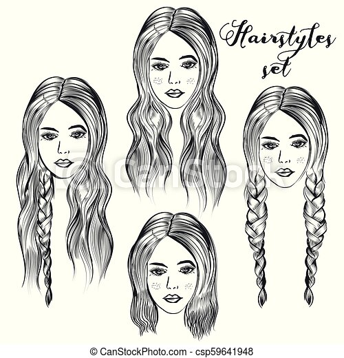 Fashion Illustration With Young Woman Different Hairstyleseps